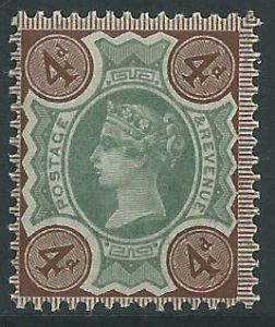SG205a 4d Green & Deep Brown 1887 Jubilee Issue MOUNTED Mint (Queen Victoria Surface Printed Stamps)
